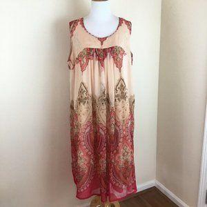 Women's 16/18 Peach Boho Sleeveless Shift Dress